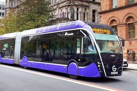 Tram buses, like this one used in Belfast, are set to become a feature on Leicester's Roads