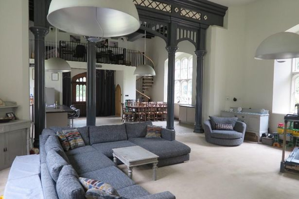 """The pumping station owner's living room is the """"ultimate entertainment area for the whole family""""."""